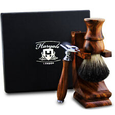 Men Shaving Set Wood Black Badger Hair Brush Wooden Stand & Safety Razor HARYALI