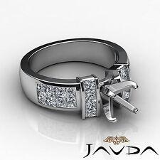 Diamond Anniversary Ring 14k White Gold Princess Invisible Semi Mount 1.03Ct