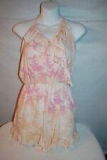3e10082bc4d Jr Womens CREAM w  PEACH PINK TROPICAL FLOWERS ROMPER V-Neck RUFFLED TRIM  Size