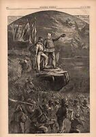 1866 Harpers Weekly Print -Uprising of Italy with Garibaldi leading the way-Nast