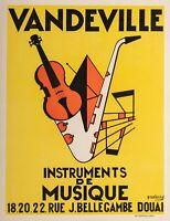 Original Vintage Jazz Poster - Musical Instruments - Violin - Saxophone - 1950
