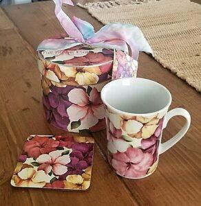 Multiple Choice Tea Coffee Cup Mug & Matching Coaster Full Bloom Pink Floral