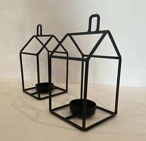 2 Black Metal Open Frame FarmHouse Decor Tea light Votive Candle Holder 7 1/2 In