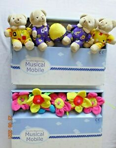 Bear Family Flowers Wind up Mobile Baby Cot / Cotbed Crib Bed Music Toy