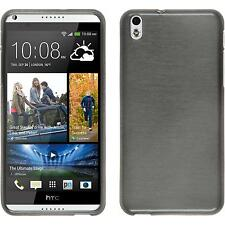 Silicone Case HTC Desire 816 brushed silver + protective foils