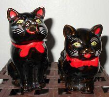Vintage Shafford (1951) Japan ~ Redware Black Cat Pitcher Creamer & Sugar Set