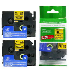 2/Pack 18mm Black on Yellow Tape for P-touch Model PT2100, PT-2100 Label Maker