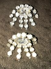 Vintage Estate Jewelry Clear Glass Faceted Rhinestone Shoe Clips 1�X 1� Nice !