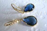 4.06Ct Pear-Cut Blue Sapphire & Diamond Earring 18K Yellow Gold Over Drop Dangle