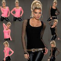 Women Top Ladies Fishnet Blouse Clubbing Party Stretch Net Shirt Size 6 8 10 12