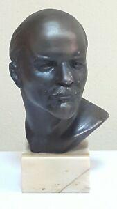 LENIN BUST FIGURINE METAL SCULPTURE CCCP SOVIET LEADER COMMUNIST ERA USSR HEAVY
