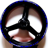 REFLECTIVE BLUE WHIT GP STYLE RIM STRIPES WHEEL DECALS TAPE STICKERS YAMAHA MT07