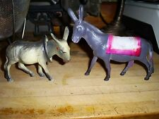 Vintage Celluloid Figurines Bobble Head Donkey & Mule Lot of 2 Nice Condition