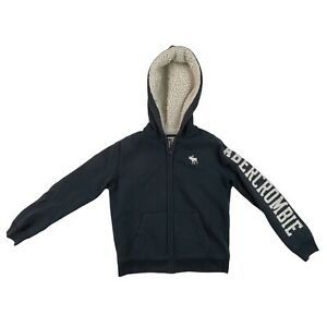 Abercrombie Kids Hoodie Sweatshirt Full Zip Sherpa Lined Youth Size 11/12 Blue