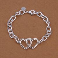 Damenarmband Ankerkette Doppel-Herz 20cm Armband pl. mit Sterlingsilber DA316