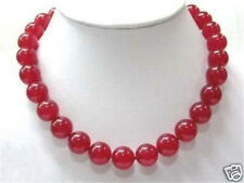Red 10mm Ruby Round Beads Gemstone Necklace 18""