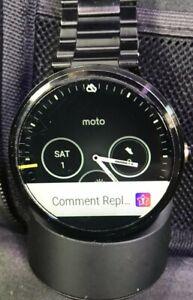 Motorola Moto 360 46mm Stainless Steel Case Black Link Bracelet 1st Gen W/Cradle