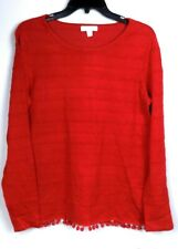 Charter Club Pullover Sweater Red Small S Pom Pom Tassels  Long Sleeve MSRP $79