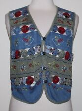 Napa Valley Petites Women's Sleeveless Vest Top Embroidery Mixed Media S Small