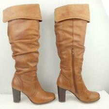 Faith Leather Boots Size UK 3 Eur 36 Womens Sexy Pirate Pull on Brown Boots