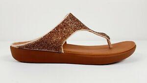 FitFlop Banda II Quartz Nude Crystal Toe Thongs Casual Sandal Size 9 BNWD