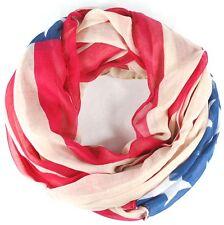 Loopschal Schal Tuch Schlauchschal USA Flagge Sterne Streifen-Schal NEU