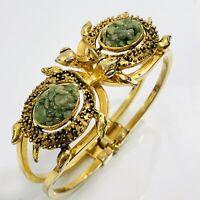Turtle Bracelet Cuff Clamper Green Stone Chip Shell Gold Tone