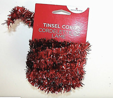 New Nwt Christmas Tinsel Cord Garland Red 10 ft