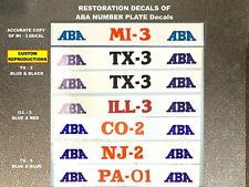 Historic Aba Number Plate Decals, Any State and District Available, Shown Mi-3