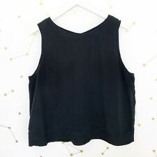 Eileen Fisher Silk Top Size Large Black Sleeveless Cropped Button Back Oversized