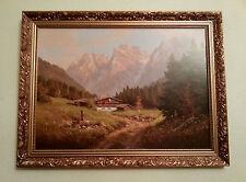 Kunstdruck auf Holzfaserplatte Berglandschaft signiert