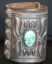 Vintage Navajo Indian Turquoise Silver Ketoh Bow Guard Bracelet