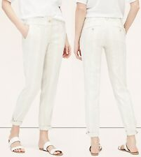 NWT Ann Taylor LOFT Striped Skinny Cropped Chinos Pants Linen Blend Size 12