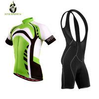 Mens Cycling Jersey Half Sleeve Top Racing Biking Top + Padded Bib shorts set