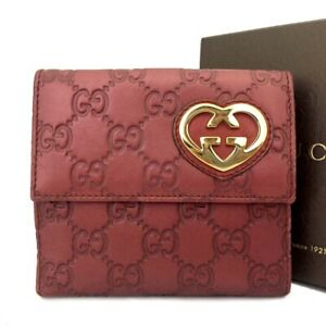 GUCCI Shima GG Logo Red Leather Bifold Wallet /C0856