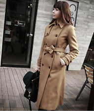 Double-breasted Camel Womens Lapel Wool Blend Jacket Long Parka Trench Coat c482