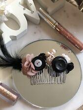 Pink Black Theme Bridal Hair Comb Button Beaded Floral Handmade Brooch Veil Ball