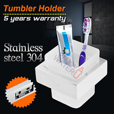 Tumbler Holder Toothbrush SET Wall Mount Bathroom Accessories Glass Cup SS304