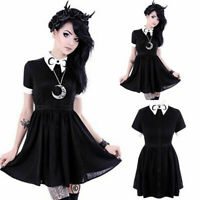 Gothic Lolita Girl Crescent Moon Embroidered Black Pointed Collared Blouse Dress