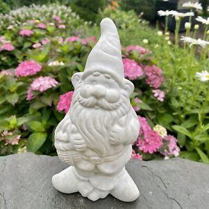 """Garden gnome statue concrete cement outdoor yard lawn 9.5"""" large ornament decor"""