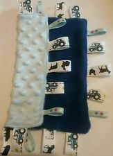 Child baby boy blue tractor ribbon like ford massey taggie cuddle blanket dimple