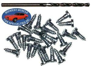 GM Chevy Window Trim Clip Molding Pin Stud Screw In Stud Studs & Drill Bit 25pcs