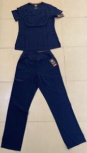 Dickies Womens Essentials Stretch Scrub Set DK735/DK005 XSmall Navy *NEW*