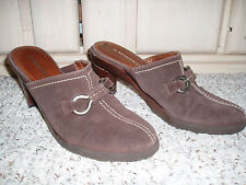 A. MARINELLI 'Connor' Leather Slide Mule Clog Shoes~Brown~Size 7M~Made Brazil