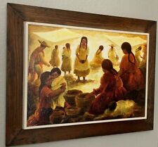 Mid Century Colorful Village Scene Painting Custom Framed / Mercedes Aguilar