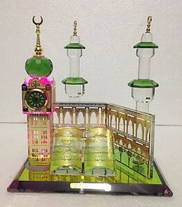 CRYSTAL GLASS MAKKAH TOWER LIGHT UP WITH CLOCK AND QURAN ISLAMIC HOME IDEAL GIFT