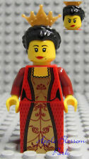 NEW Lego Kingdom Female Minifig RED QUEEN Black Hair Castle Girl Minifigure 7952