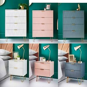 Superb 4 Drawer Chest / Bedside Tables With Rose Gold Handles & Legs Bedroom New
