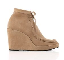 BALENCIAGA Beige Suede Leather Wedge Ankle Boots HalfBoot Booties 9 / 39 NIB