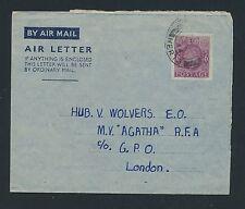 """04190) GB / UK GA Aerogramme LF1 I, Baldock 12.12.44 > M.V.""""AGATHA"""" R.F.A"""